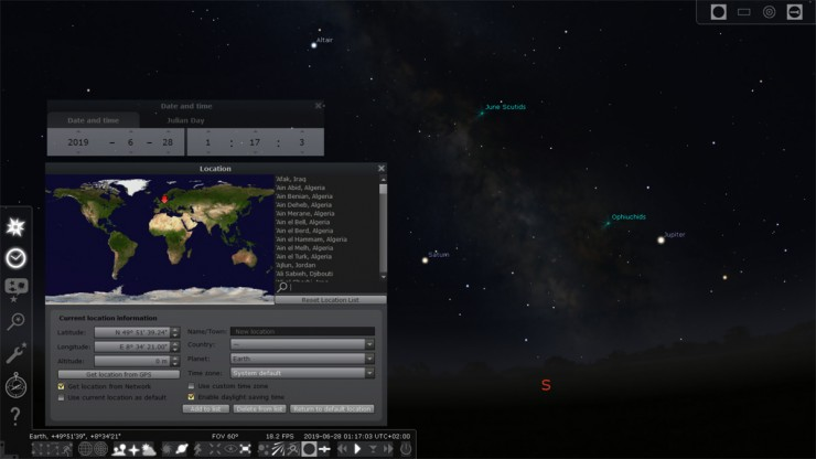 Screenshot Stellarium-Software